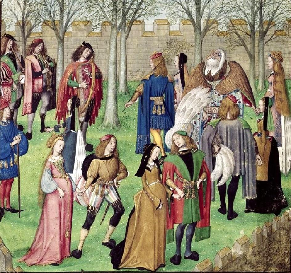 c 1487-95 Artist Unknown British Library, London, Harley 4425 f. 14v Dancing in the Garden