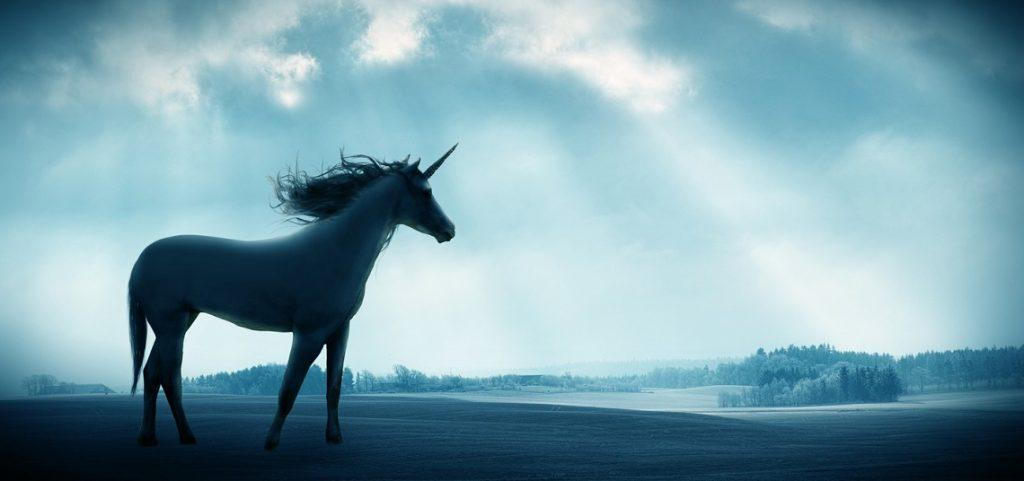 Shot of a beautiful unicorn against against a dramatic landscape